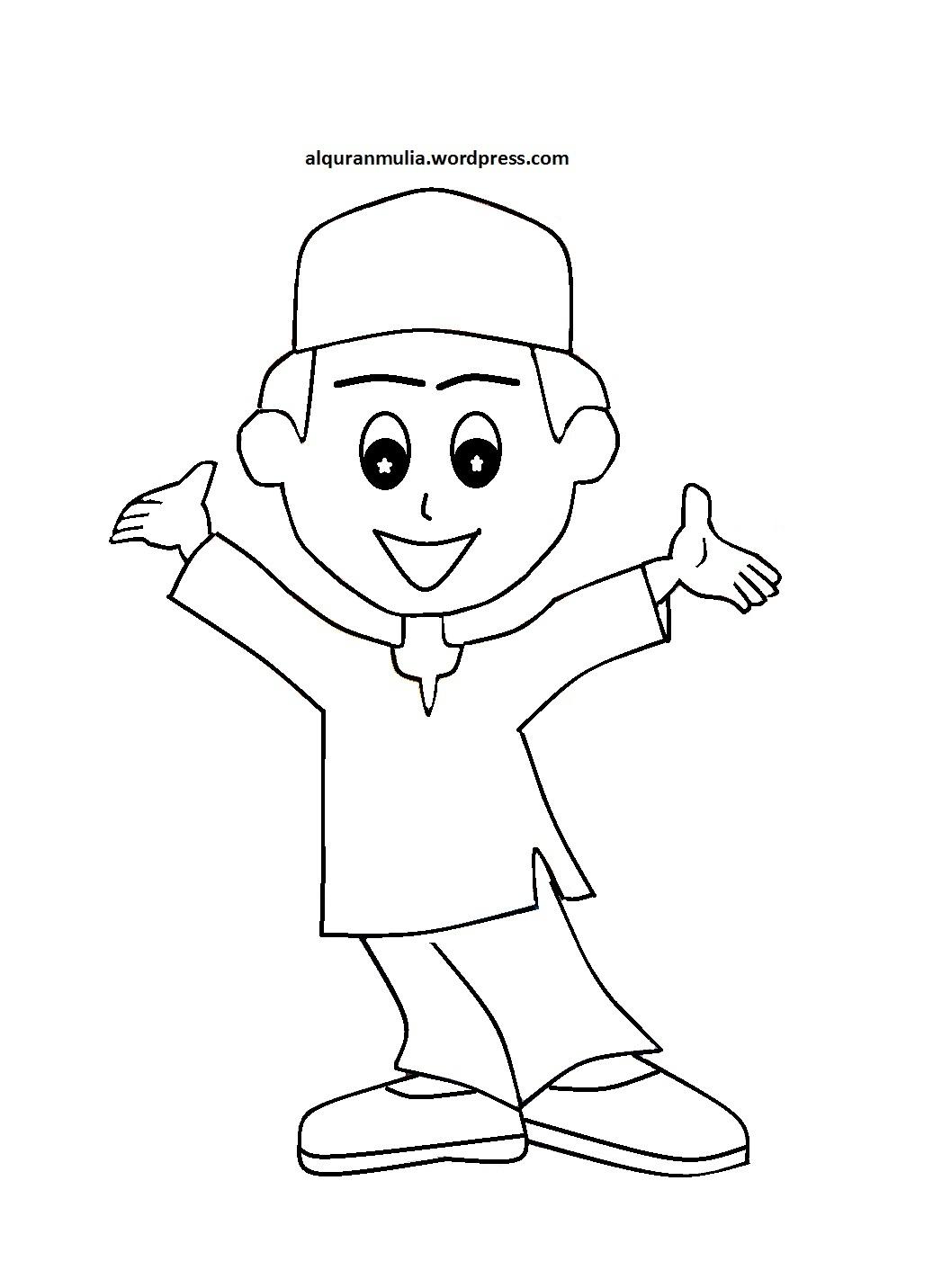 Mewarnai Gambar Kartun Anak Muslim 11  alquranmulia