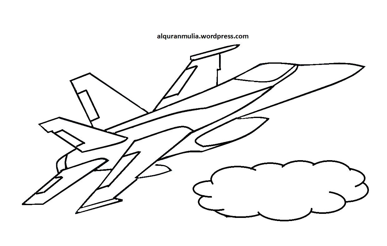 Mewarnai Gambar Pesawat Tempur 5 Anak Muslim  alquranmulia