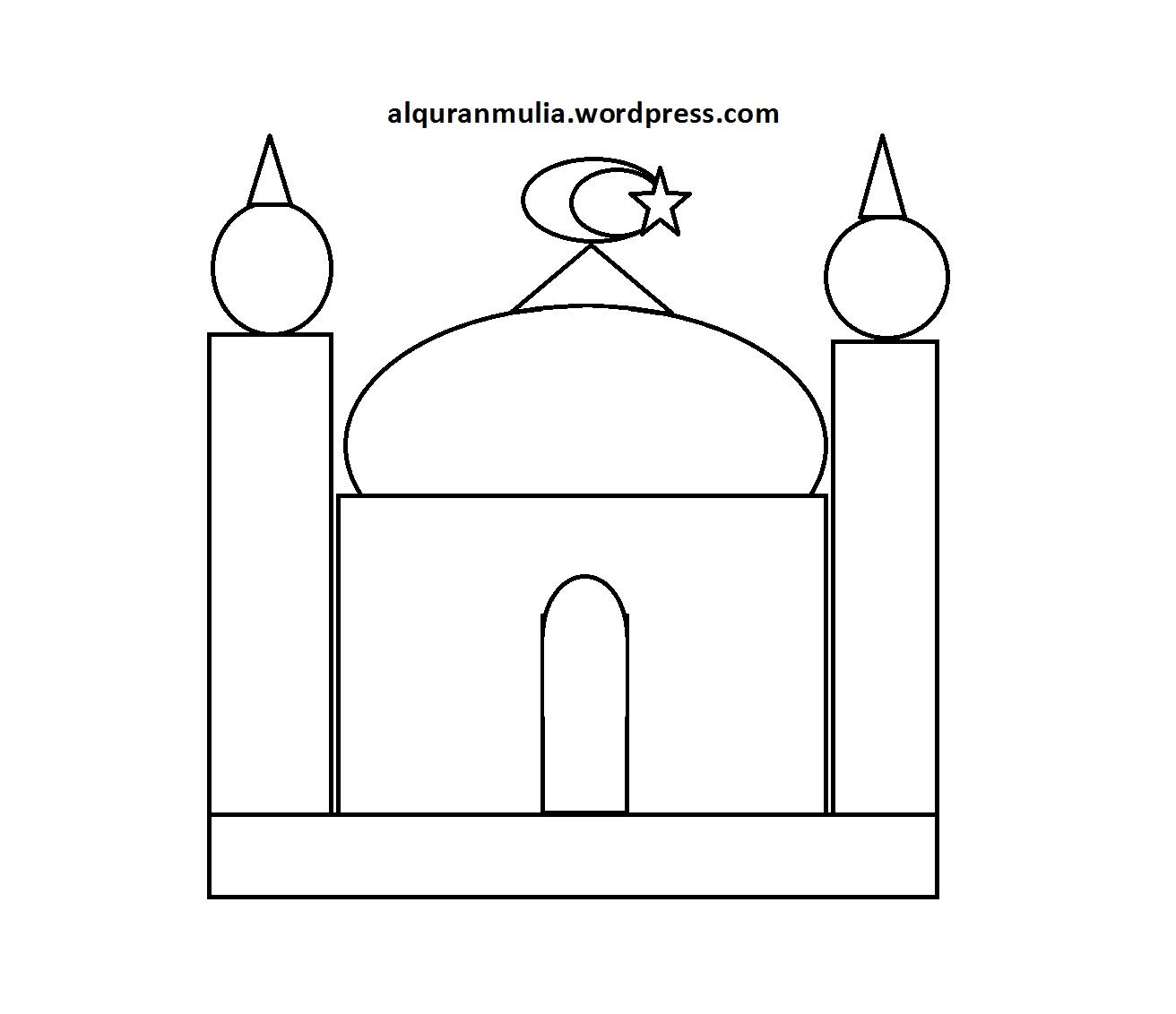 Mewarnai Gambar Masjid 12 Anak Muslim  alquranmulia