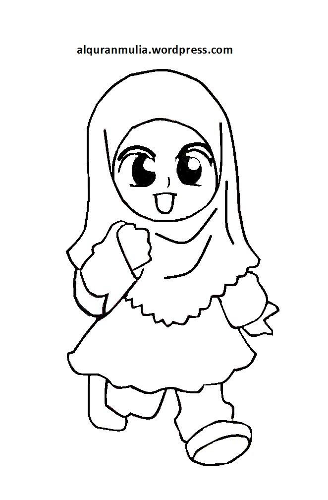 Mewarnai Gambar Anak Mengaji : mewarnai, gambar, mengaji, Mewarnai, Gambar, Kartun, Muslimah, Alqur'anmulia