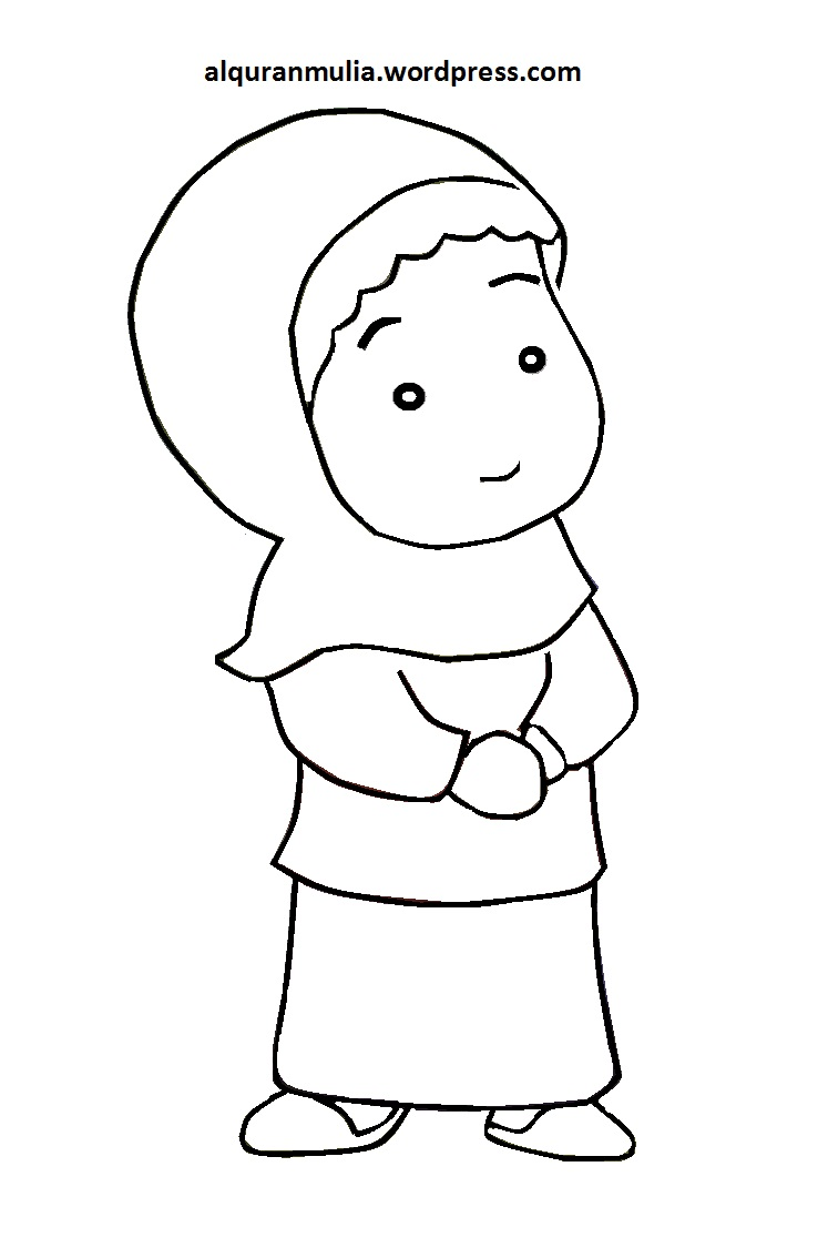 Mewarnai Gambar Kartun Anak Muslimah 92  alquranmulia
