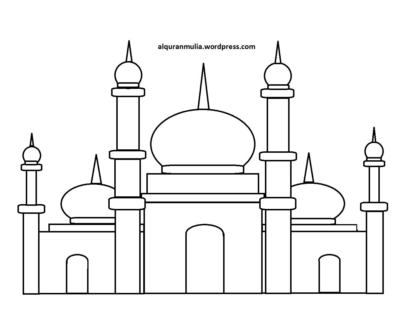 Mewarnai Gambar Masjid 26 Anak Muslim  alquranmulia