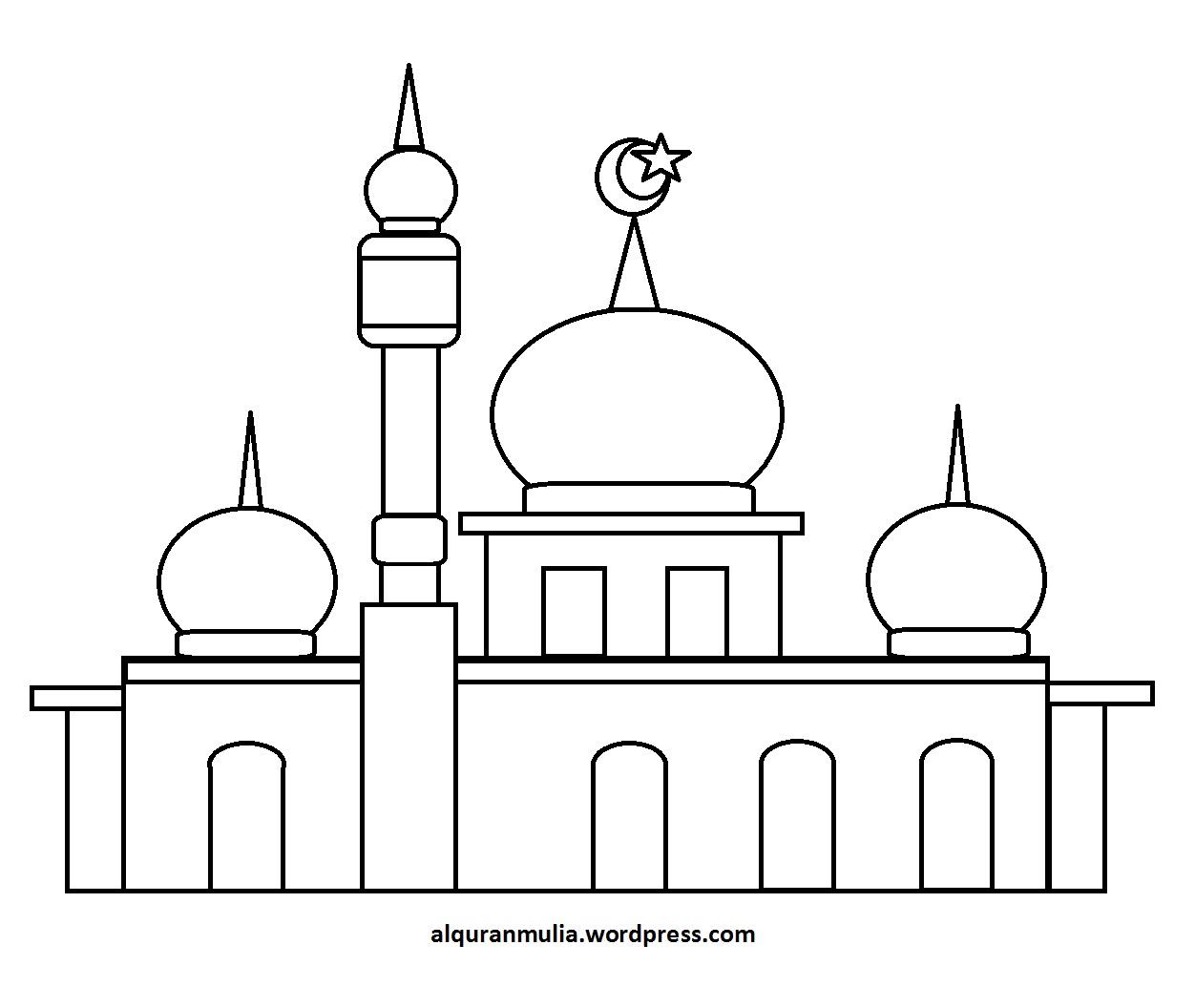 Mewarnai Gambar Masjid 33 Anak Muslim  alquranmulia