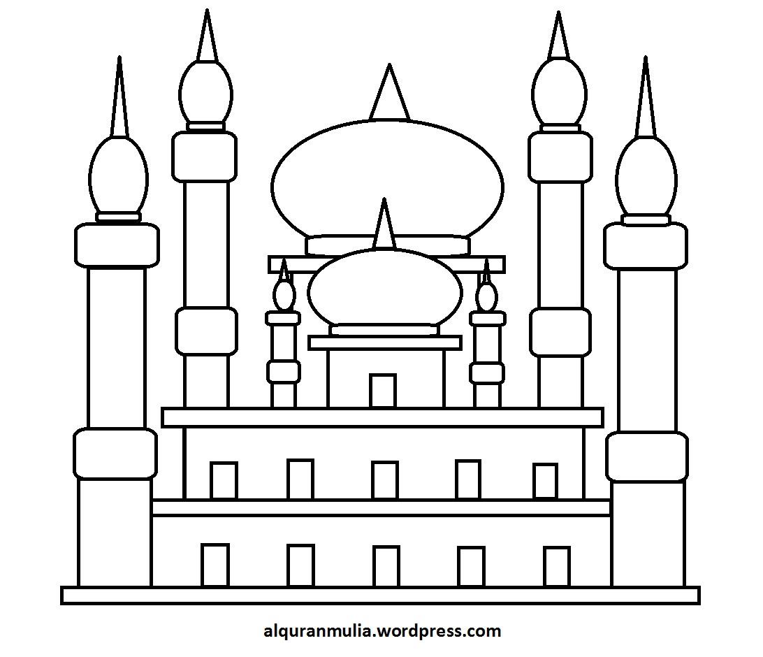 Mewarnai Gambar Masjid 40 Anak Muslim  alquranmulia