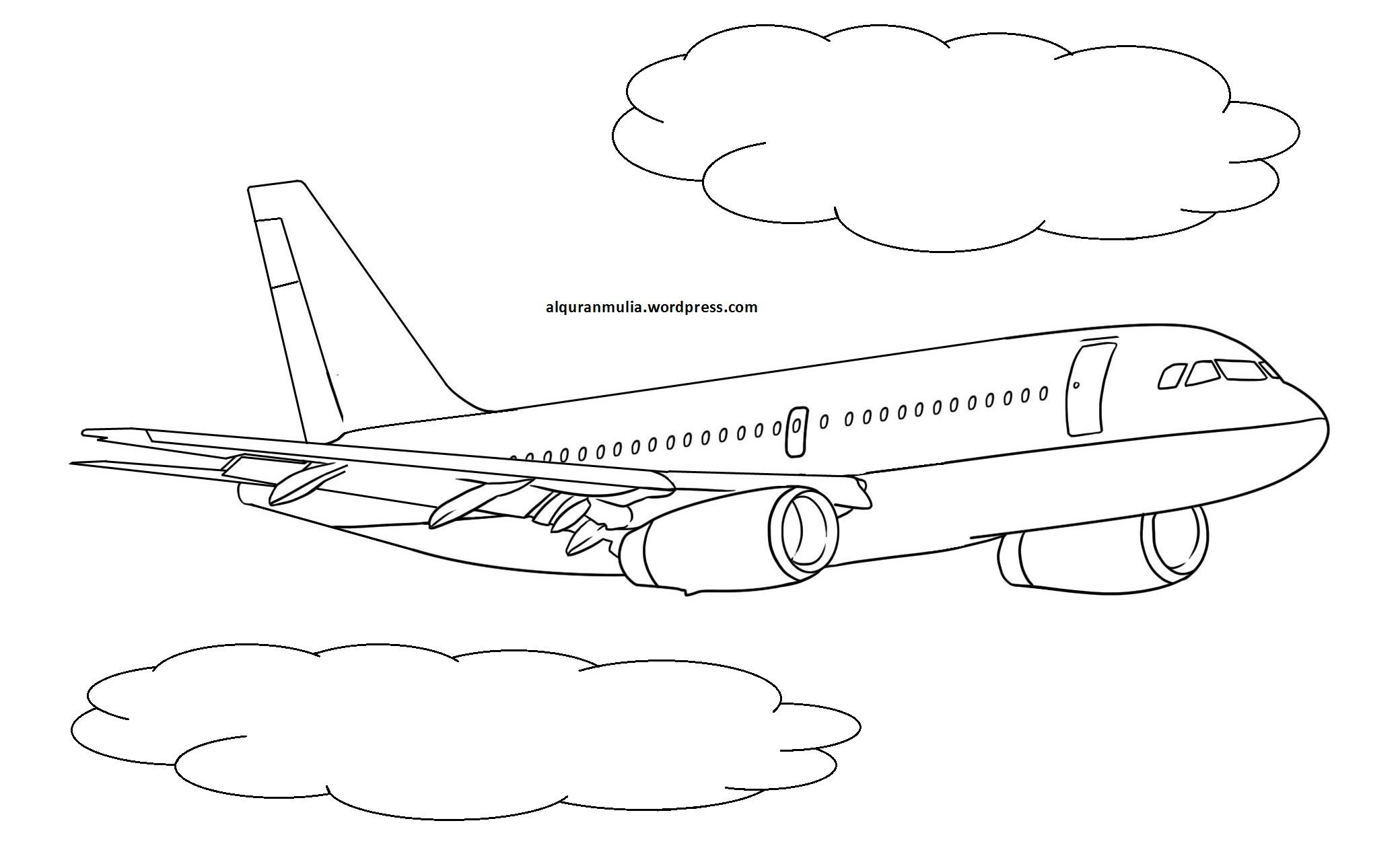 Gambar Mewarnai Pesawat Terbang