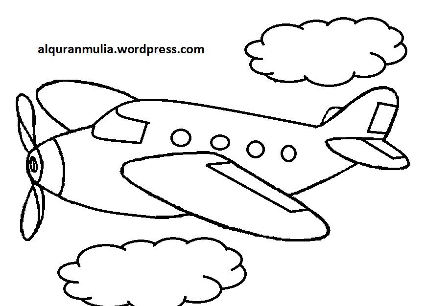Mewarnai Gambar Pesawat Terbang 34 Anak Muslim  alquranmulia
