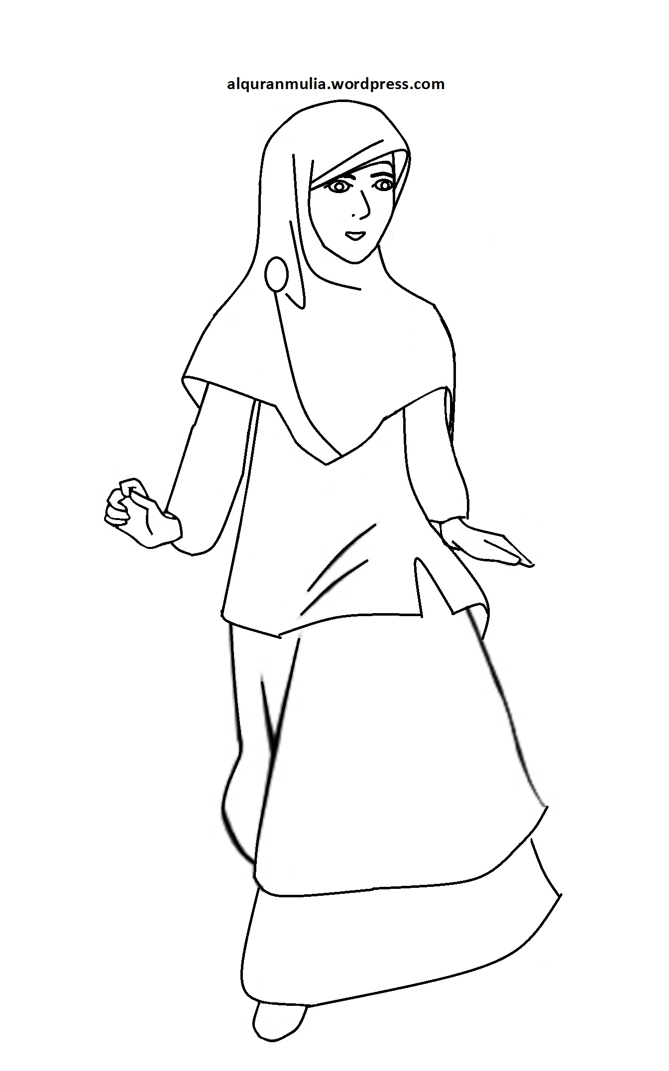 Kartun Muslimah Sketsa Kolek Gambar