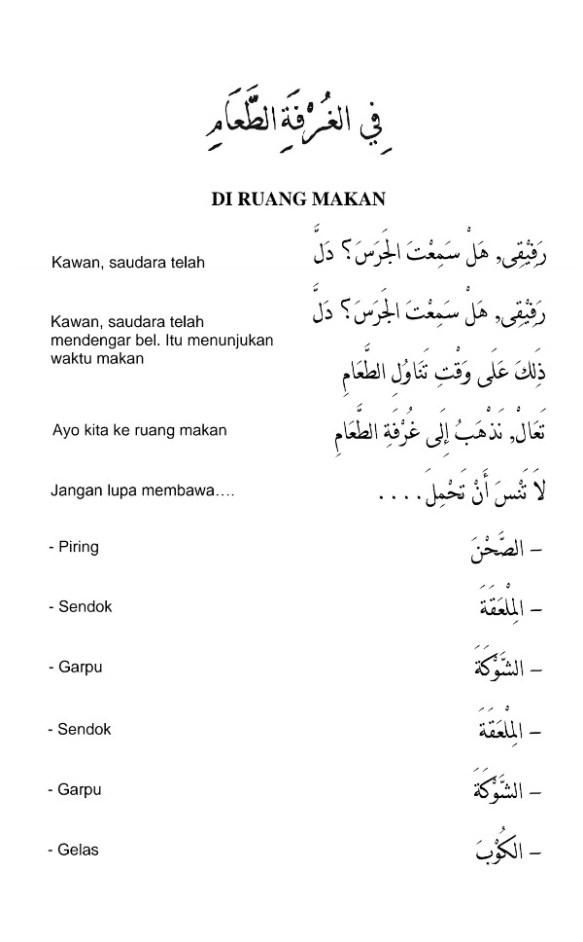 """Bahasa Arab Meja : bahasa, Percakapan, Bahasa, (Hiwar):, """"Di, Ruang, Makan"""", Alqur'anmulia"""