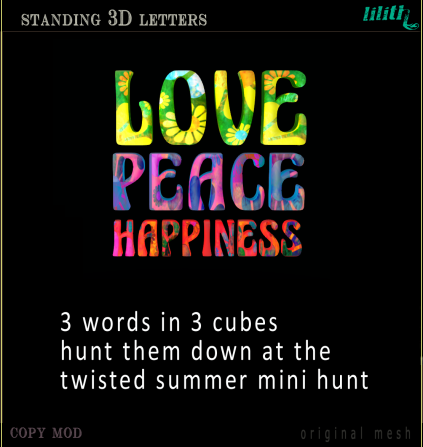 Lilith's Den - Standing 3D Letters - Love Peace Happiness
