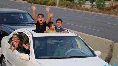 صورة مسيرة سيارة ضخمة في الزهراني تأييداً لمواقف السيد