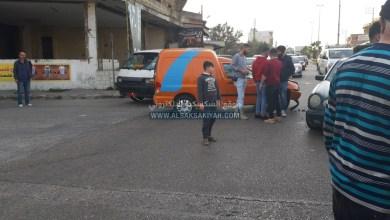 صورة اصابة بحادث سير على اوتوستراد زفتا النبطية