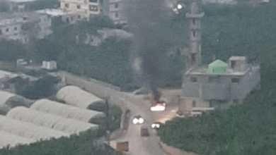 صورة احتراق سيارة احد ابناء السكسكية