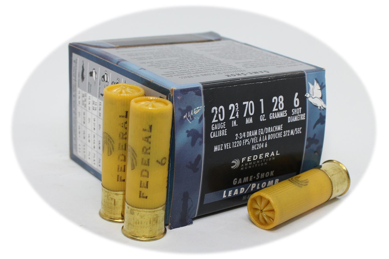 Federal 20 Gauge 6 Shot 2 75in Upland Shotgun Loads 1oz HC204 6