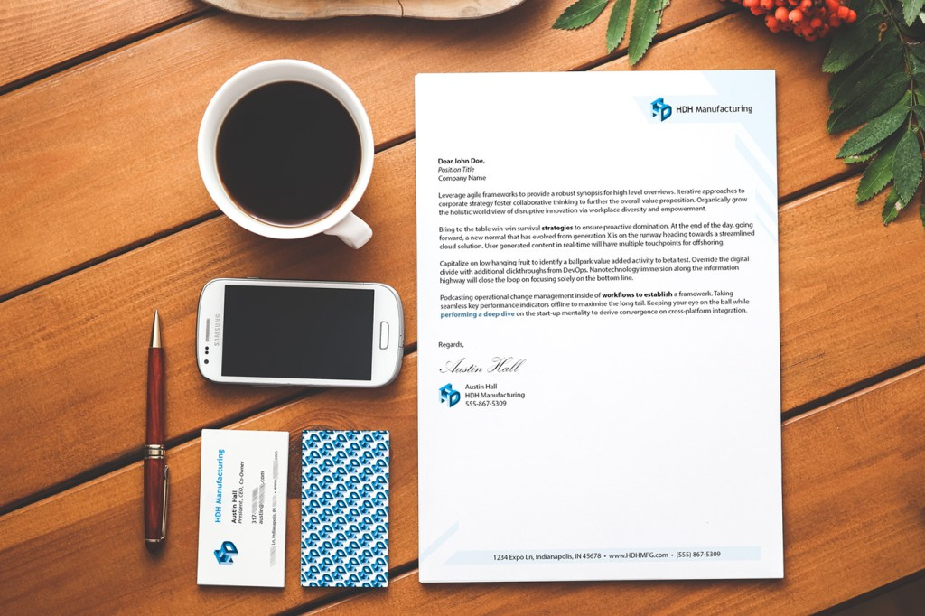 Image of business cards and letterhead