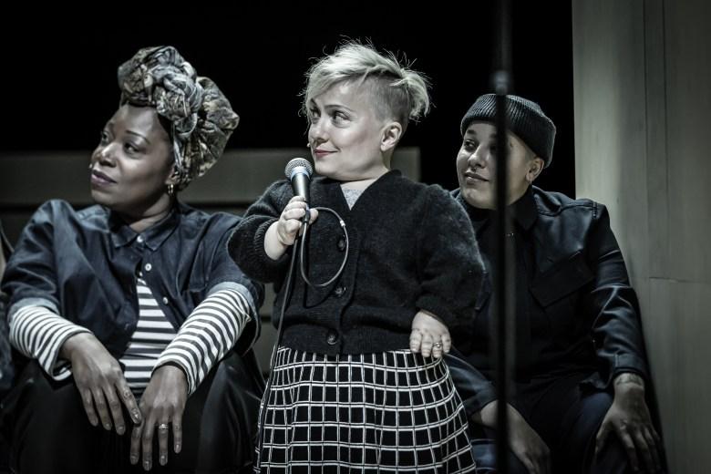 Cyrano de Bergerac. Michele Austin (Ragueneau), Kiruna Stamwell (Marie-Louise) & Mika Johnson. Credit - Marc Brenner.2021