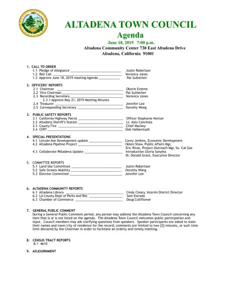 ATC Town Council Meeting June 18th, 2019 « Altadena Town Council