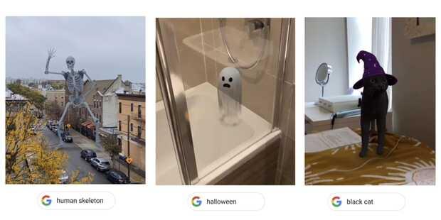 Google evoca nuevos animales 3D para Halloween: esqueleto danzante, gato negro y más...