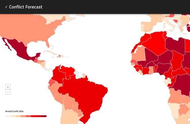Mapa de países con mayor probabilidad de estallidos de violencia yconflictos armados