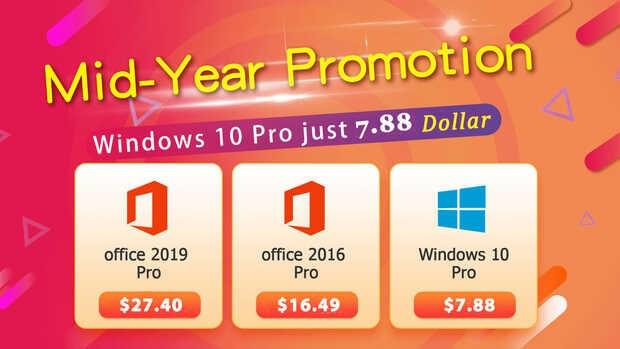 Promoción de mitad de año: Windows 10 Pro a $7.88 y Office 2019 Pro a $27.40