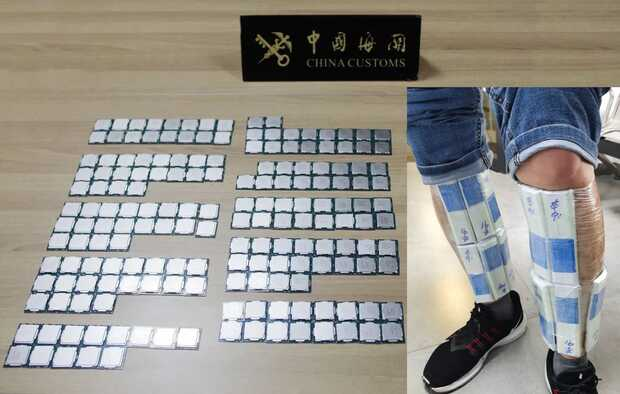 Atrapan contrabandista rumbo a Hong Kong con 256 procesadores Intel Core pegados a su cuerpo