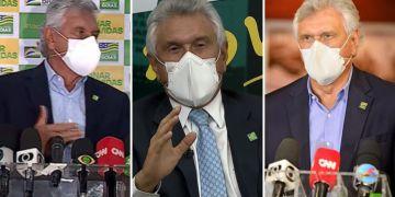 O governador Ronaldo Caiado (DEM) tem sido visto  usando duas máscaras. Você também deveria fazer o mesmo. (Foto: Reprodução)