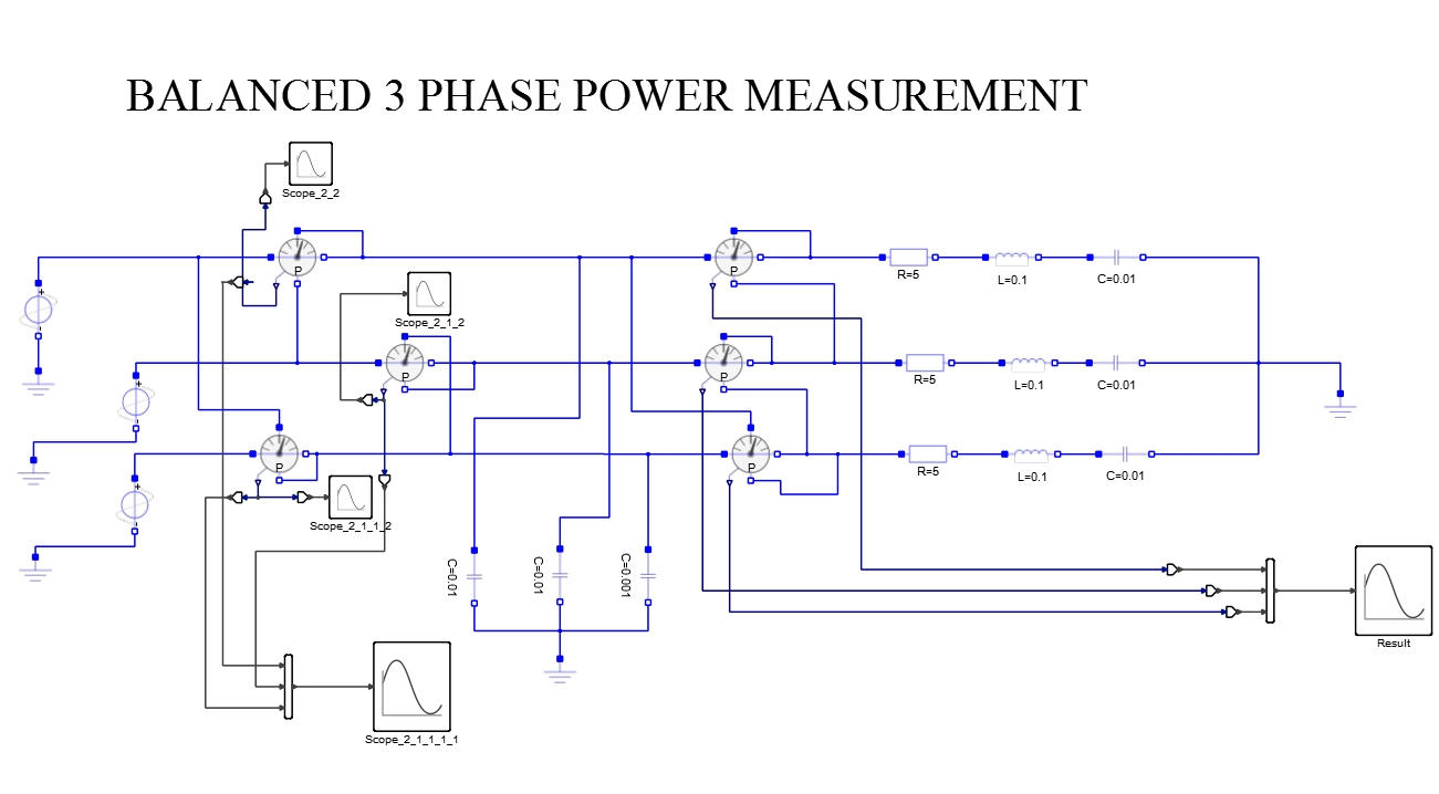hight resolution of three phase power measurement balanced load for capacitive and resistive loads