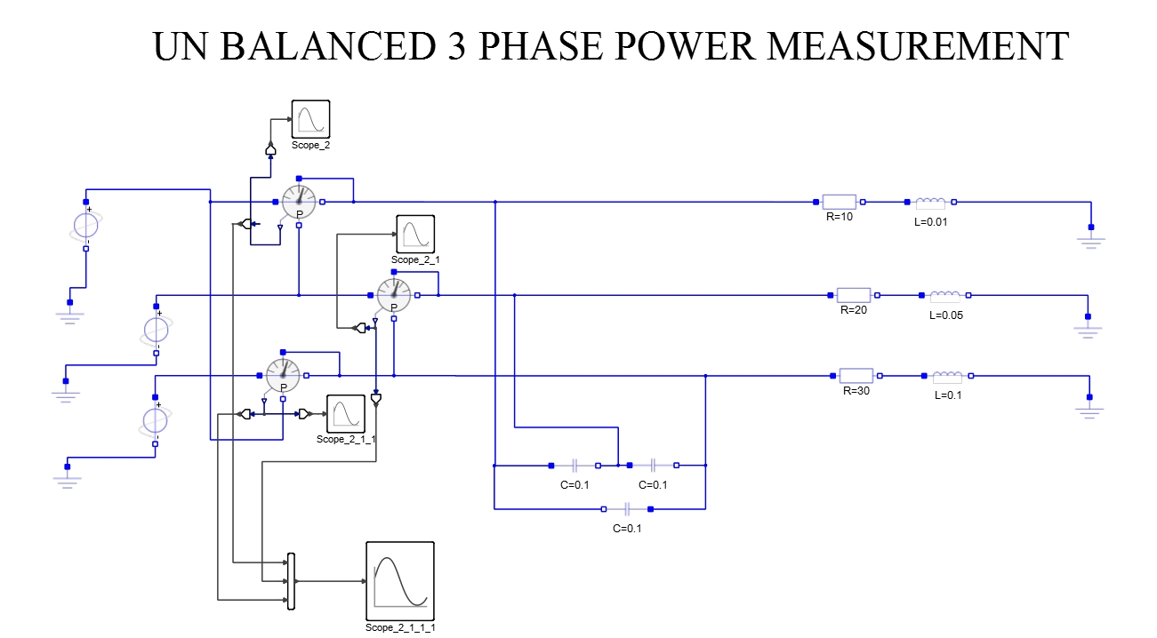 hight resolution of three phase power measurement unbalanced load for capacitive and resistive loads
