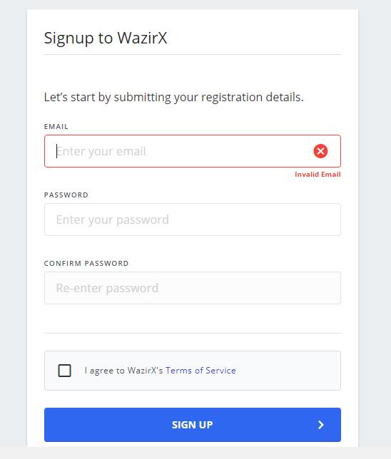 wazirx signup page