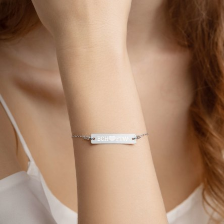 BCH FTW! with heart Engraved Silver Bar Chain Bracelet