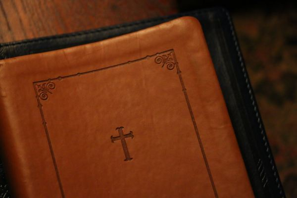 church book with leather cover