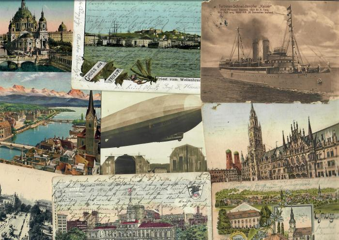 old postcard collection with german handwriting