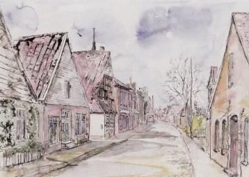-80- Eindruck aus der Burgstraße, früher Wipperstraße. Aquarell, ca. 39x28cm, Heinrich Hartong, im Besitz der Familie Susen