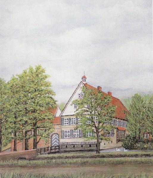-9- Burg Dinklage, Öl auf Pressfaser, ca. 34x40cm, Josef Bockhorst, im Besitz von Josef Bockorst