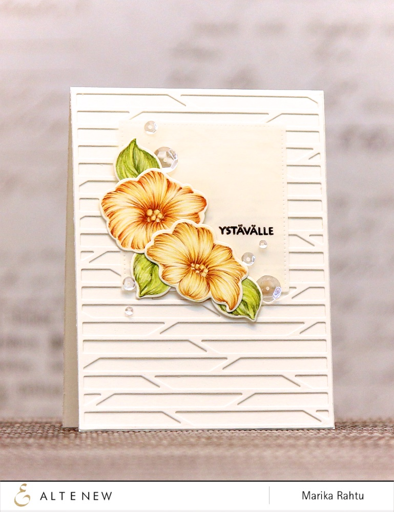 Products used: Whimsical Flowers and co-ordinating die, Birch Land Stamp set and Shutter Cover Die.