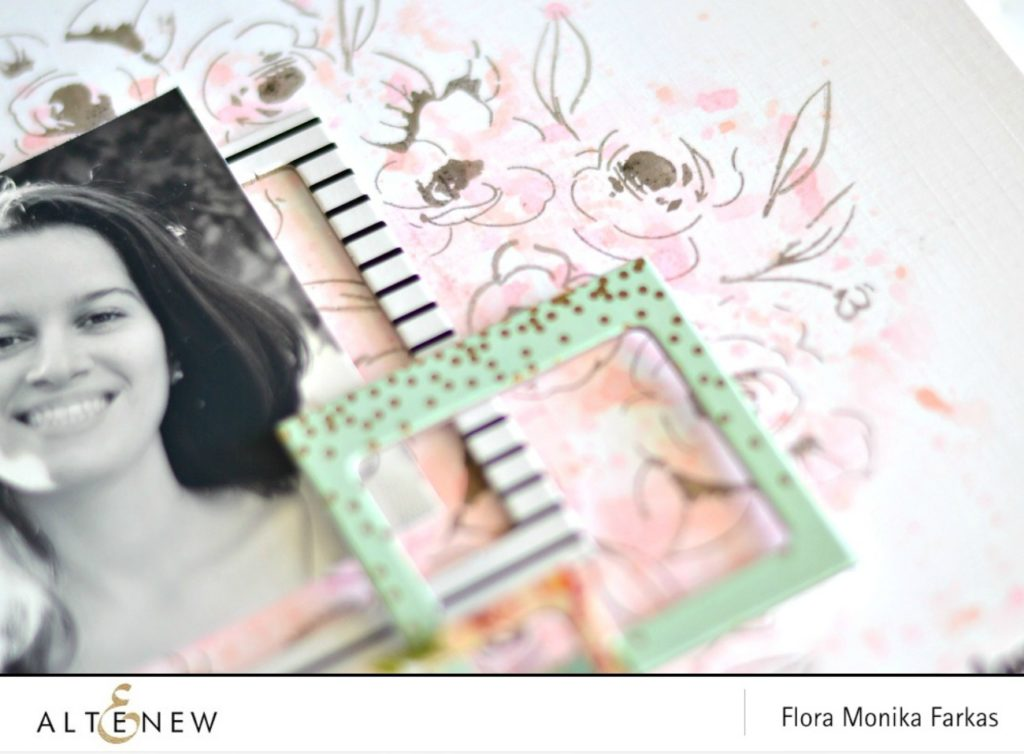 how to create background with inks and stamps by @floramfarkas