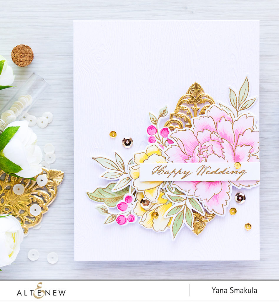 Altenew July Inspiration Challenge - Wedding Season! Happy Wedding Card using Peony Bouquet stamps & dies by Yana Smakula