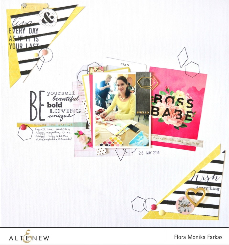 motivational scrapbook layout with altenew stamps