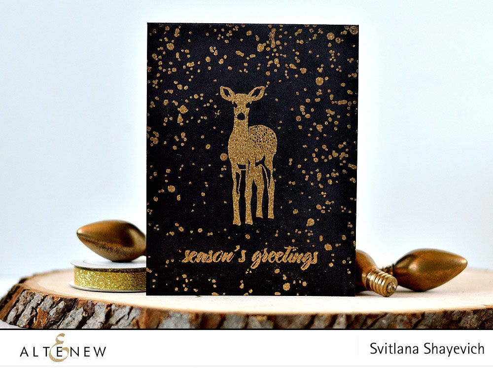 @altenew Modern Deer, Gold on Black. Card by @s_shayevich