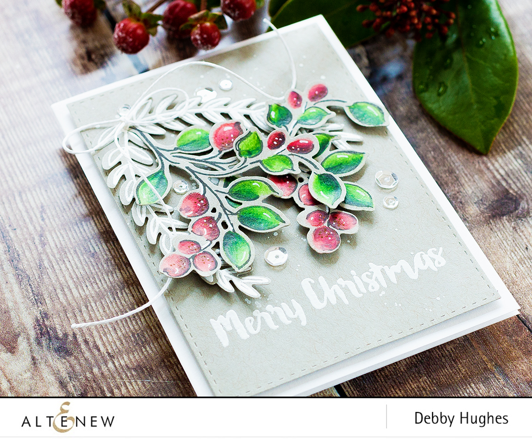 Winter berries Christmas card by Debby Hughes using Altenew Golden Garden, Floral Frame and Holiday Wishes. Find out more by clicking on the following link: http://altenewblog.com/2016/12/12/winter-berries/