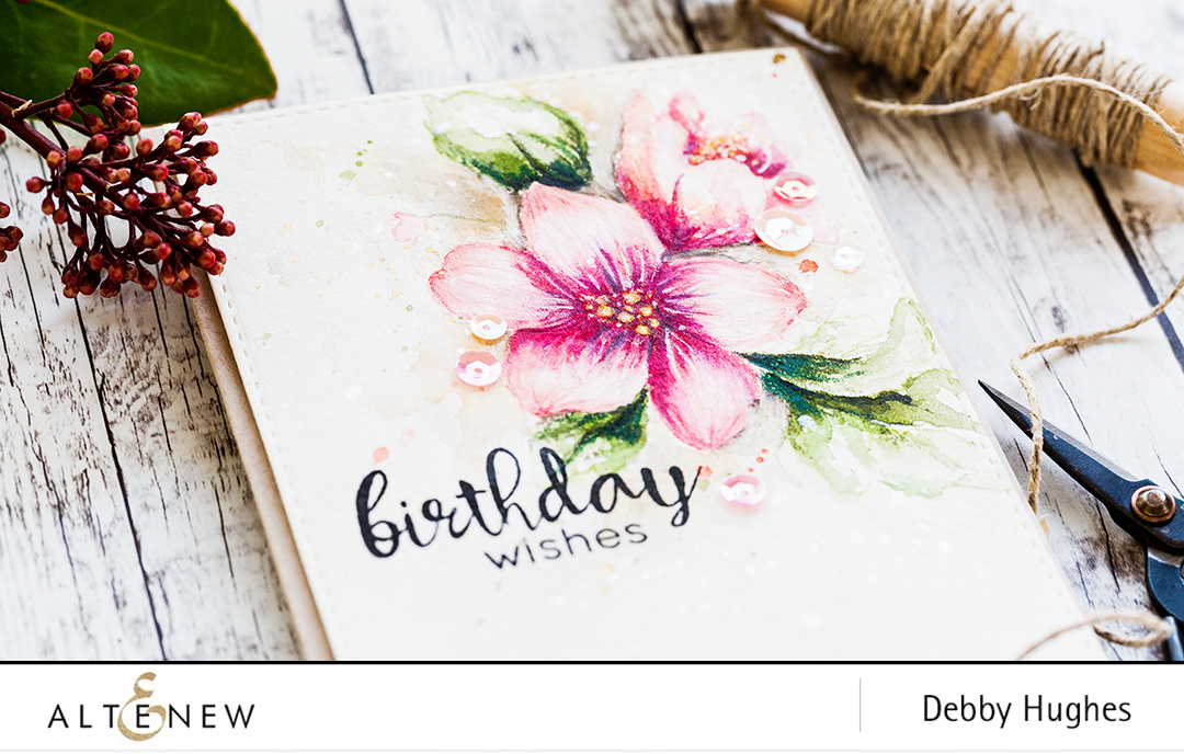 Watercolored Hibiscus Bouquet birthday card by Debby Hughes. Find out more by clicking on the following link: http://altenewblog.com/2017/01/02/watercolored-hibiscus-bouquet/