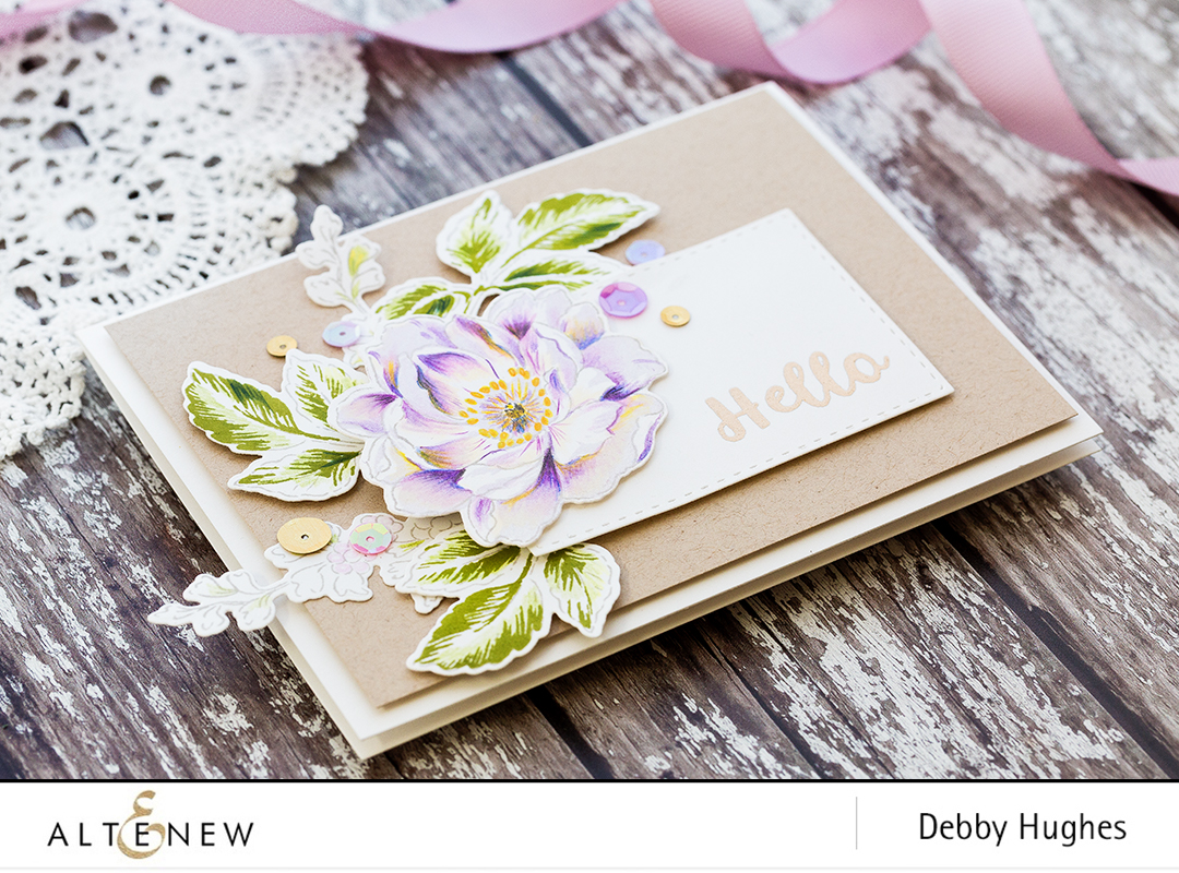Accenting stamped images with colored pencils by Debby Hughes. Find out more about this card by clicking on the following link: http://altenewblog.com/2017/03/05/accenting-stamped-images-with-colored-pencils/