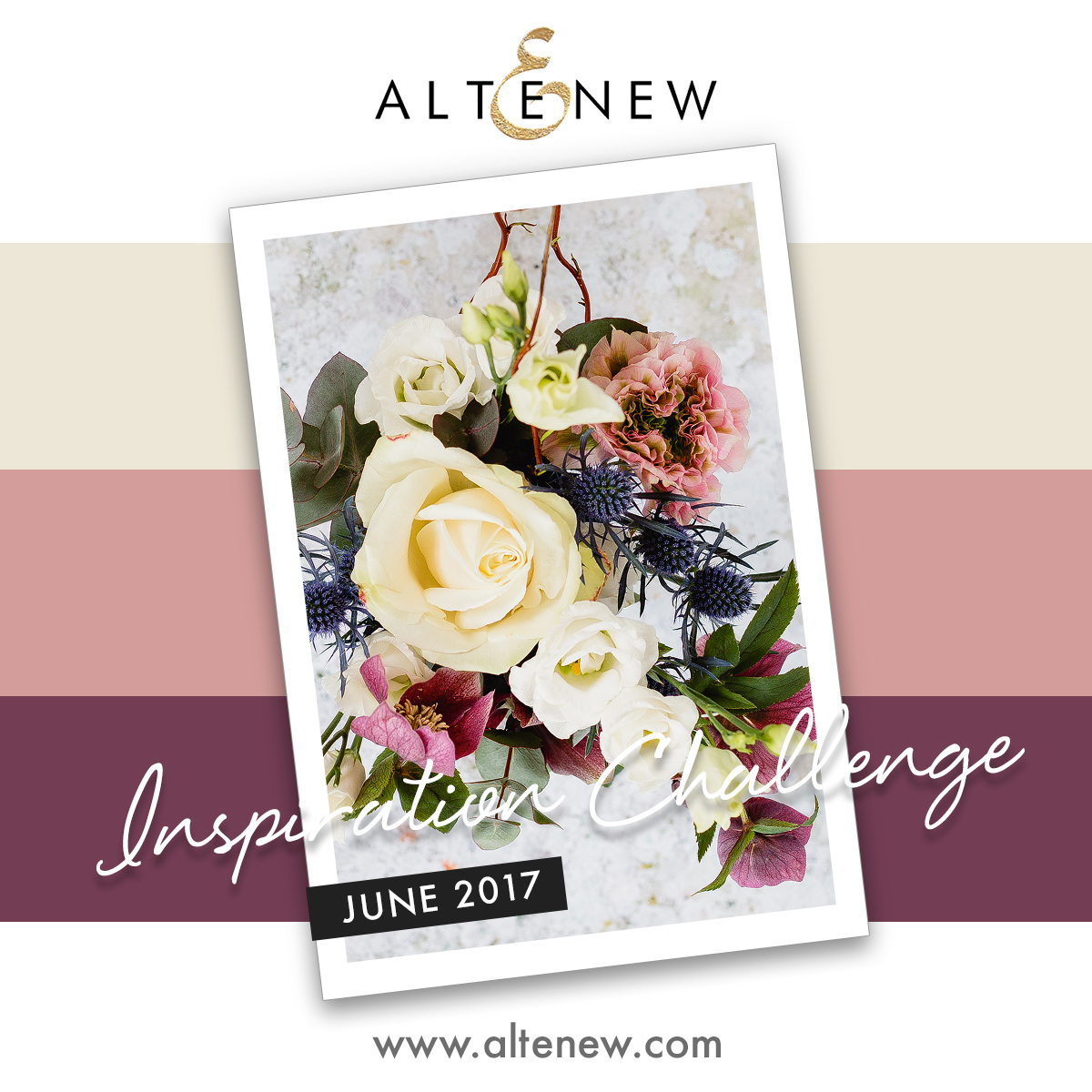 June 2017 Altenew Inspiration Challenge. Find out more by clicking the following link: http://altenewblog.com/2017/05/28/june-2017-inspiration-challenge-white-on-white-focal-point/
