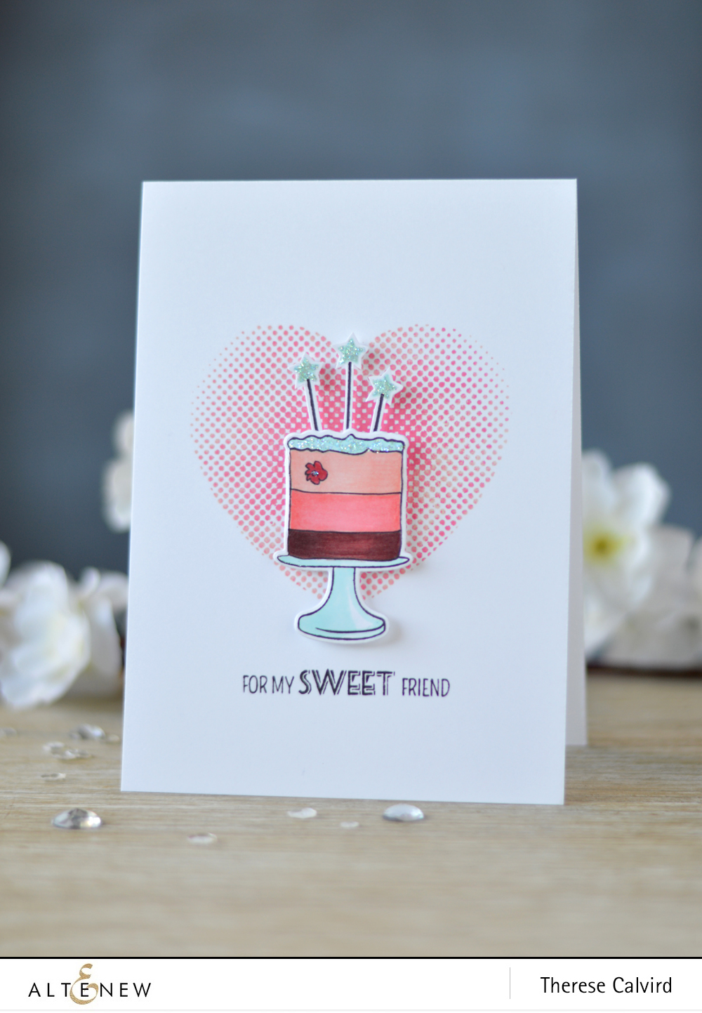 Altenew - Cake Love - Halftone Hearts - Layered Cupcake - Wood Pallet Background - Lostinpaper (card video) 1 copy