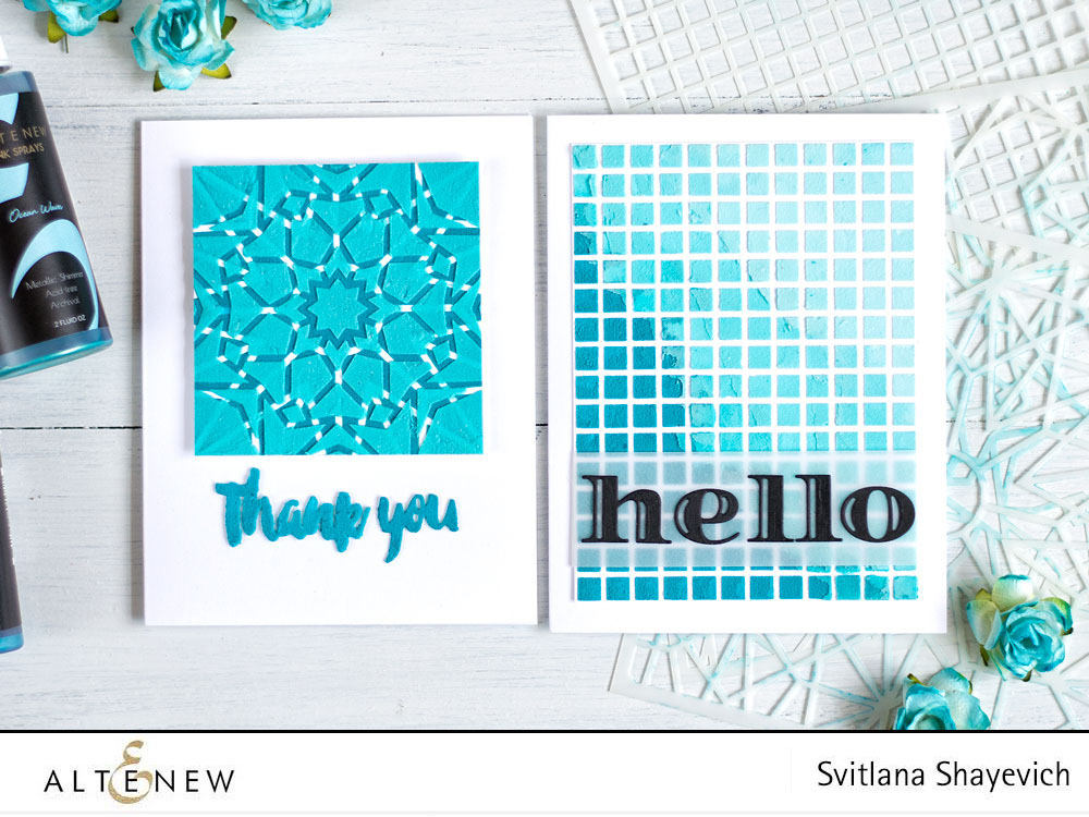Two Cards Using Stencils and Colored Embossing Paste