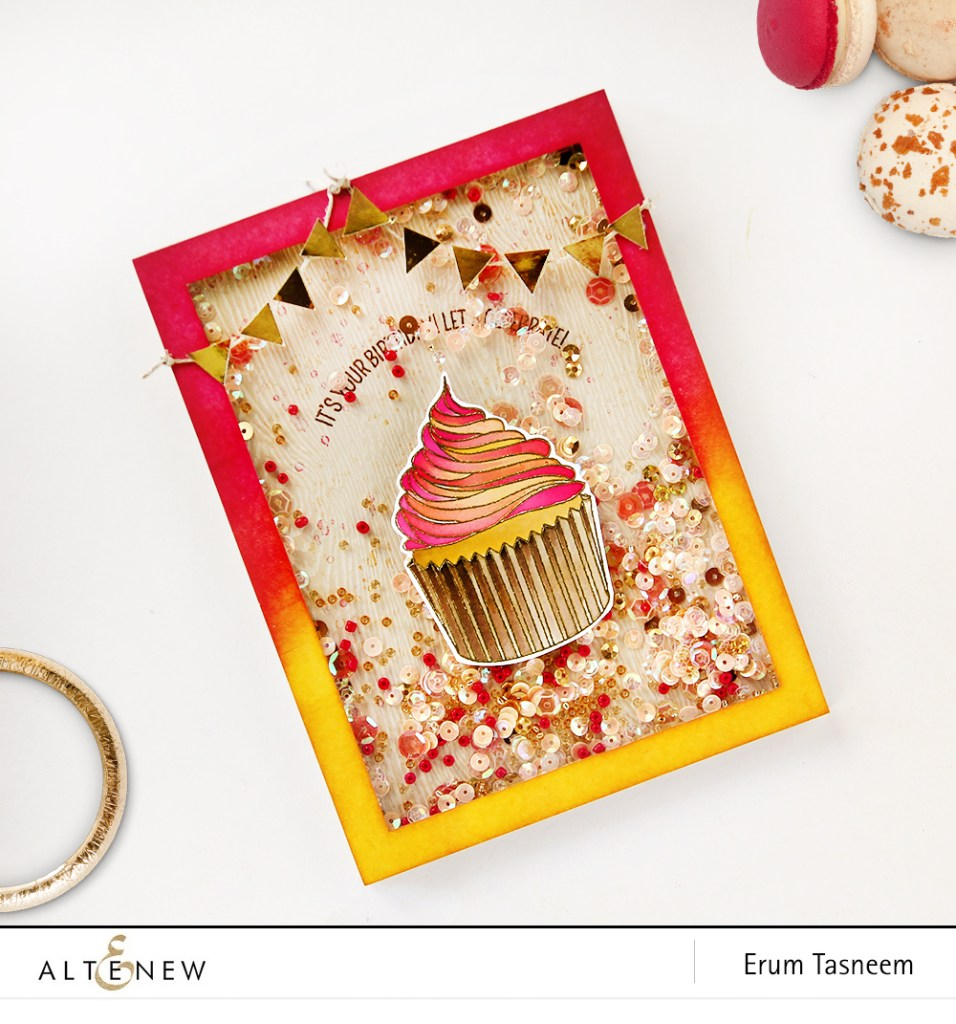 Shaker card using Altenew Layered Cupcake Stamp Set and Antique Gold Crisp Heat Embossing Powder. Card by Erum Tasneem - @pr0digy0