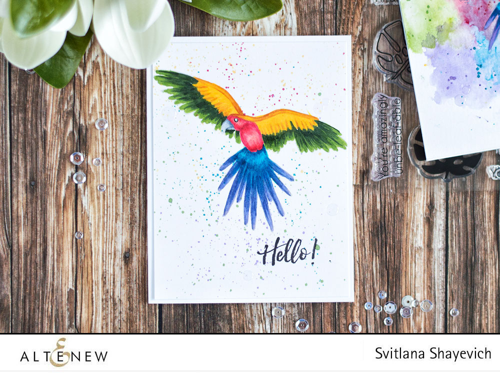 Altenew Parrot Paradise. Colorful card with ink splatters background. By @craftwalks