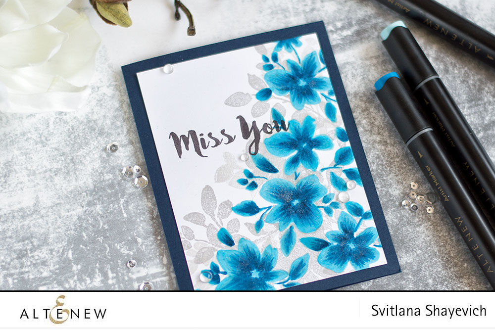 Altenew Floral Shadow Stamp Set. Stamped solid images are colored with markers. Card by @craftwalks