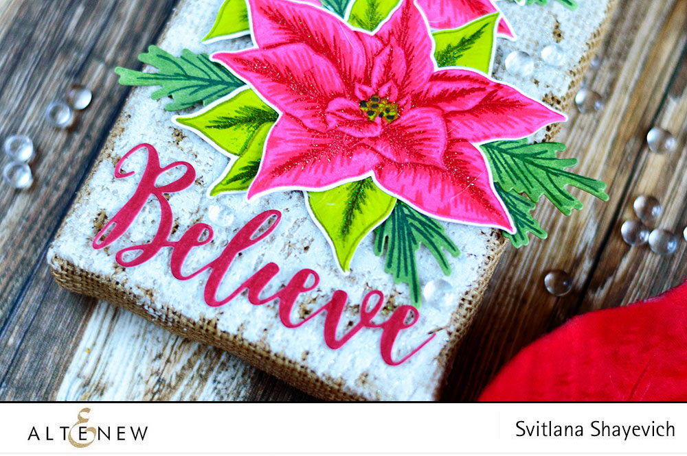 Christmas Decor with Altenew Poinsettia stamps. By @craftwalks