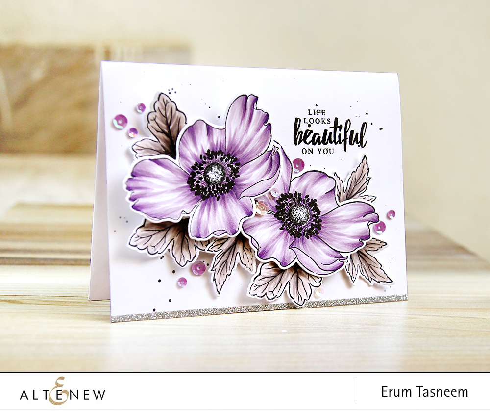 Altenew Build-A-Flower Anemone coloured with Artist markers Set B | Erum Tasneem | @pr0digy0