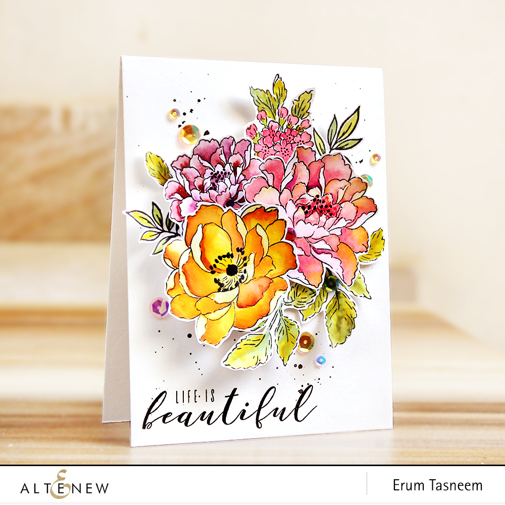 Altenew Beautiful Day | Coral Charm | Peony Bouquet | Remember This | More Than Words | watercoloured with distress inks | Erum Tasneem | @pr0digy0